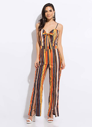 Catch My Eye Striped Slit Jumpsuit