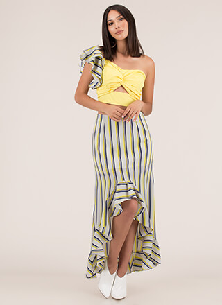 Unexpected Striped Top And Skirt Set