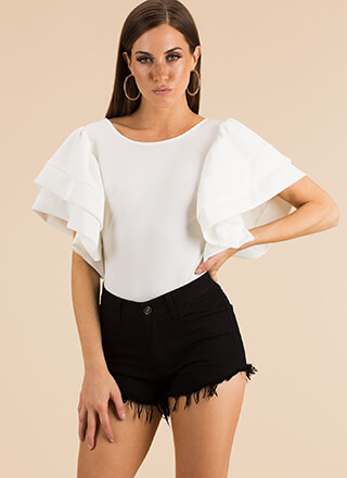 Dramatic Fashion Ruffled Sleeve Top