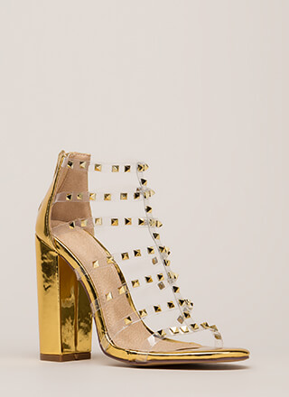 Clearly Sexy Studded Caged Heels