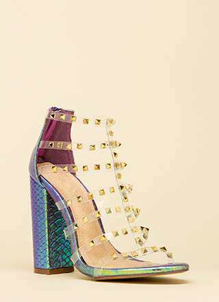 Clearly Sexy Studded Holographic Heels