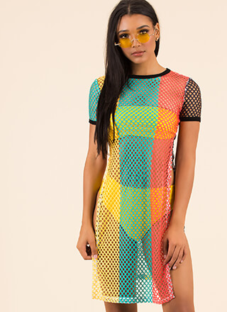 Slip Thru The Net Slit Colorblock Dress