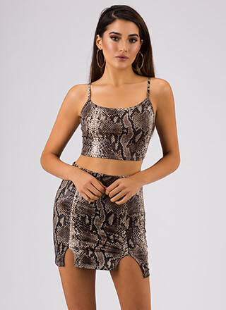 Let's Prey Snake Print Top And Skirt Set