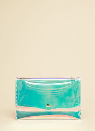 Clear Out Holographic Envelope Clutch