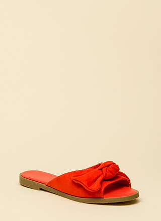 My New Bow Faux Suede Slide Sandals