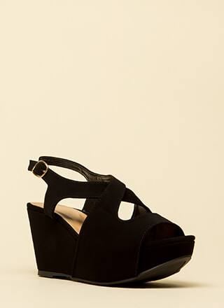 Easy Day Cut-Out Peep-Toe Wedges