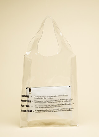 Warning Clear Two-Piece Tote Bag