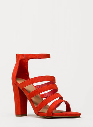 Five Stars Strappy Faux Suede Heels