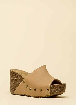 Hurry Up Studded Faux Nubuck Wedges