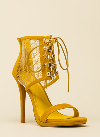 Clear Advantage Stitched Lace-Up Heels