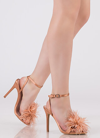 In Fine Feather Satin Pom-Pom Heels