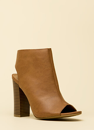 Rely On Me Cut-Out Peep-Toe Booties