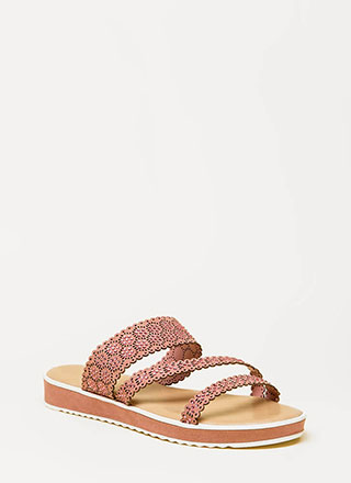 Good Mood Strappy Jeweled Slide Sandals