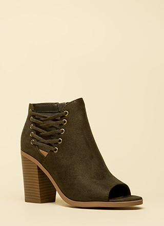 Laced With Style Chunky Peep-Toe Booties