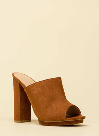 Dashing Chunky Peep-Toe Mule Heels