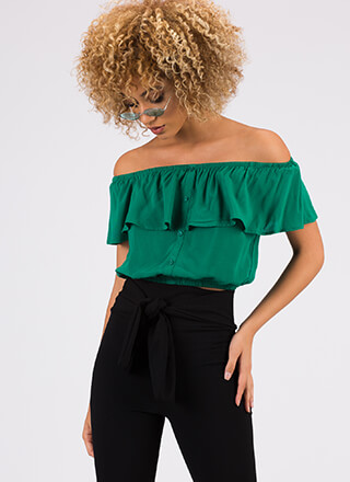 Gettin' Frilly Ruffled Off-Shoulder Top