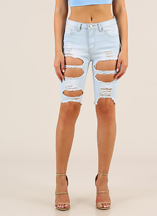 Make Me Hole Distressed Denim Shorts