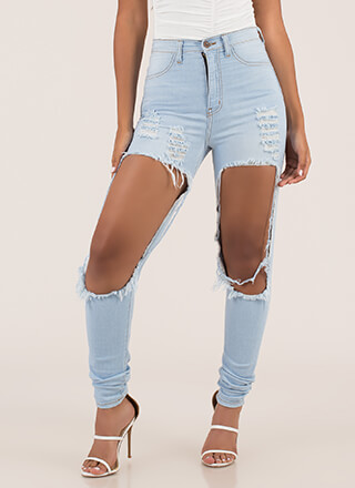 Show Leg Destroyed High-Waisted Jeans
