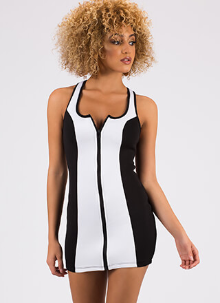 Dive In Colorblock Zip-Front Minidress