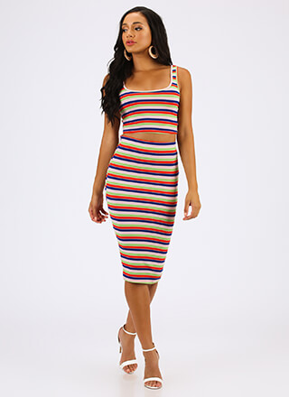Fun And Games Striped Top And Skirt Set