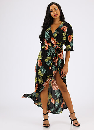 Pretty In Pineapples Tropical Maxi Dress