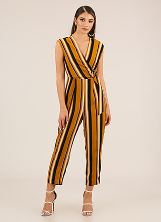 Fashion Line Striped Surplice Jumpsuit