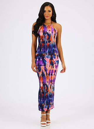 Impressionist Art Watercolor Halter Maxi