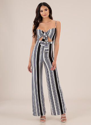 Line And Dine Striped Palazzo Jumpsuit