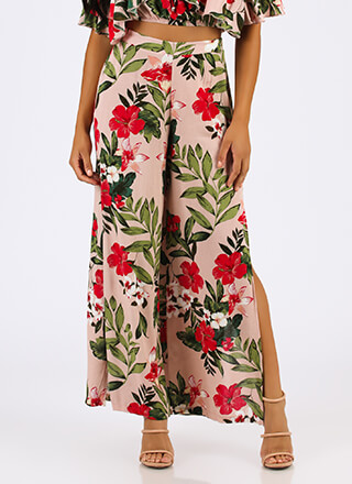 Tropical Garden Floral Palazzo Pants