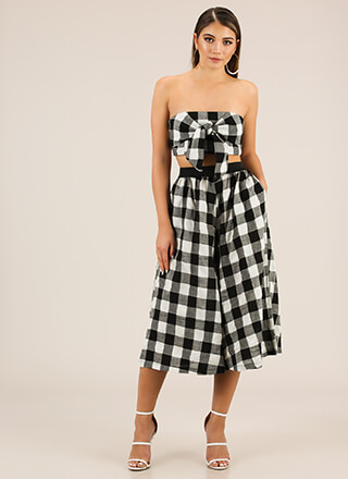 Checkered Flare Top And Pant Set
