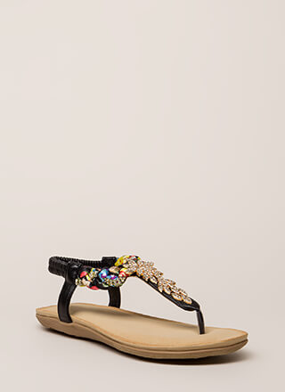 Fine Florals Jeweled T-Strap Sandals