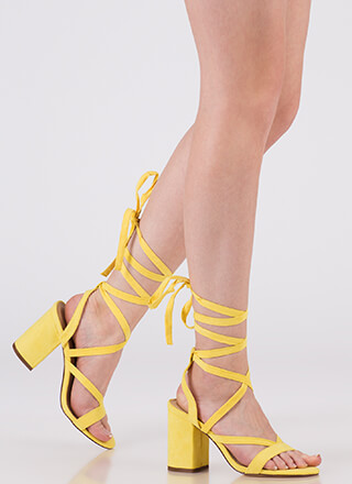 Accentuate Strappy Lace-Up Block Heels
