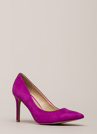 Simple Task Pointy Faux Suede Pumps