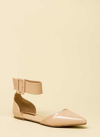 Good Point Faux Patent Ankle Strap Flats