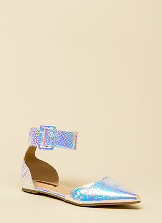 Good Point Holographic Ankle Strap Flats