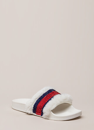 Fur Good Jeweled Striped Slide Sandals