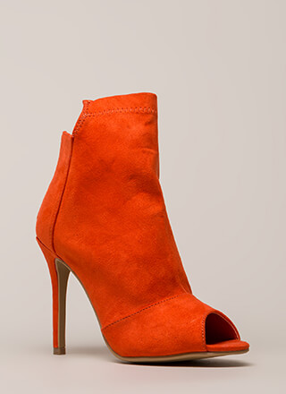 Come Say High Paneled Peep-Toe Booties