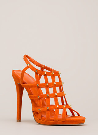 Grid To See You Studded Caged Heels
