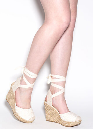 Crochet Cutie Lace-Up Espadrille Wedges