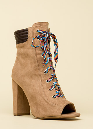 Trading Laces Chunky Peep-Toe Booties