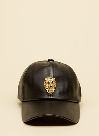 Knock-Knock Faux Leather Lion's Head Cap