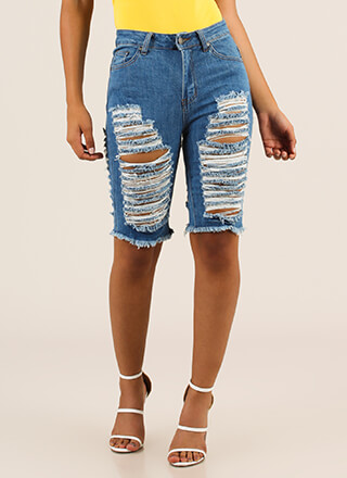 Slashback Sunday Destroyed Denim Shorts