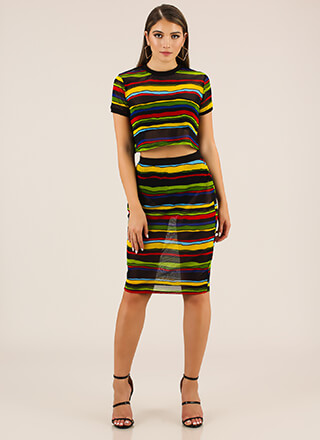 Sheer Satisfaction Striped 2-Piece Dress