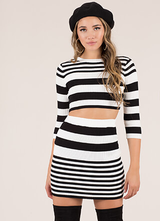 Stripe A Match Ribbed Top And Skirt Set