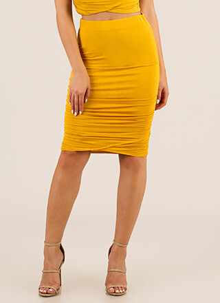 Gather Yourself Ruched Pencil Skirt