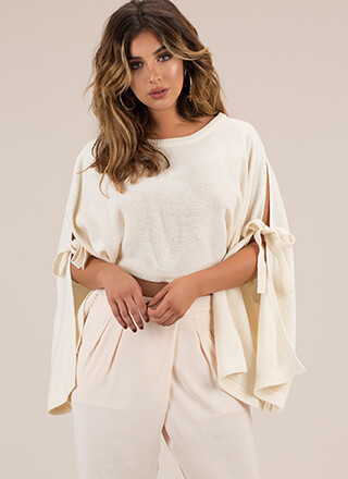 Winging It Tied Wide Sleeve Sweater
