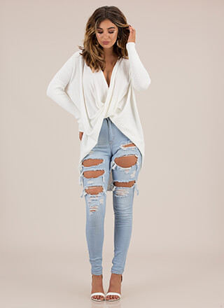 With A Twist Draped High-Low Sweater