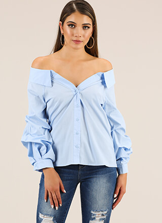 Going Off-Shoulder Button-Up Blouse