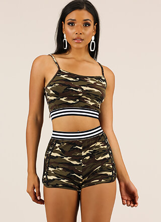 Cool Camo Striped Top And Shorts Set