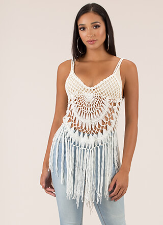 Net Picks Fringed Crochet Knit Top